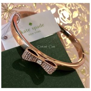 Kate Spade Rose Gold Pave Bow Bangle NWT